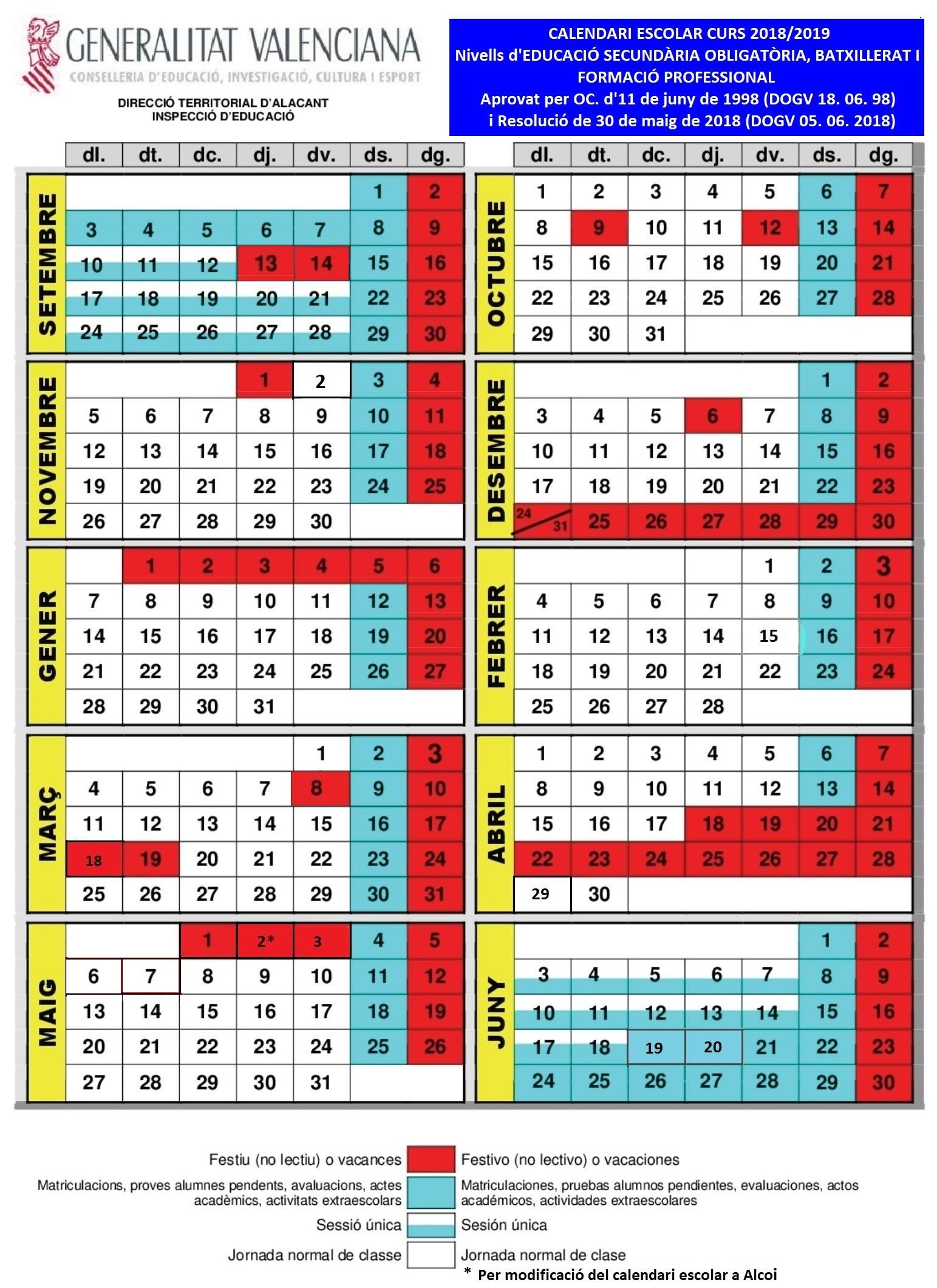 Calendario Escolar Curso 2018/ 2019   Ajuntament de Sant Joan d\'Alacant